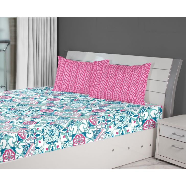 Fiesta Tile Double Bedsheet Blue,Double Bed Sheets