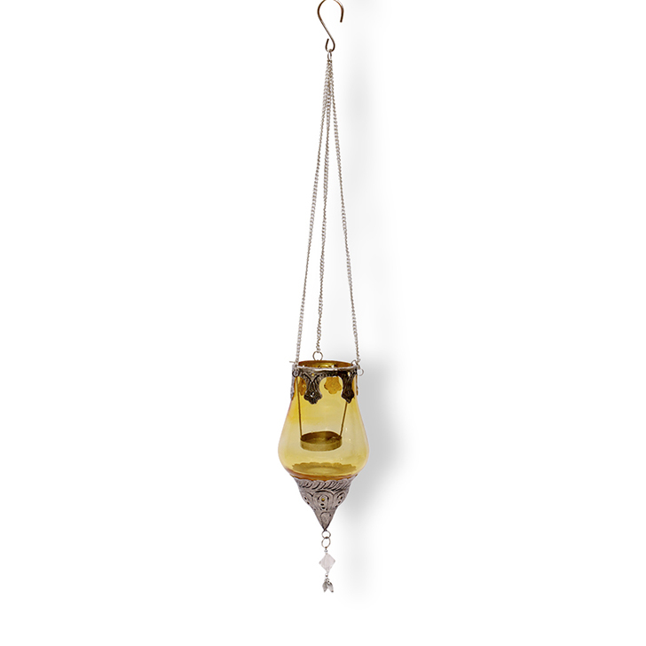 Hometown Ariel Drop Glass And Metal Hanging Lantern Citron And Silver,Lamps & Lighting