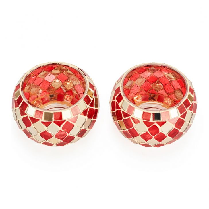 Ahana Mosaic Bowl Candle Holder  Red,Candle Holders