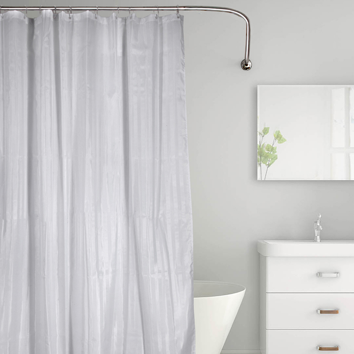 Tangerine Polyester Shower Curtain With Hooks Grey And White,Bath Linen
