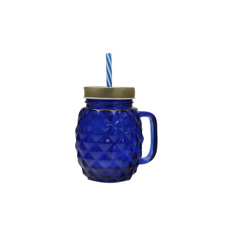 Pineapp Gold & Ultramarine Juice Jar,Sippers