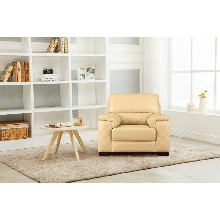 Tuscany Half Leather One Seater Sofa Butterscotch,All Sofas