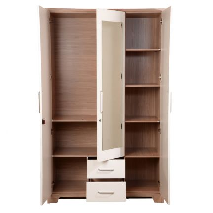 Buy ambra three door wardrobe with mirror white online in for 3 door wardrobe interior designs