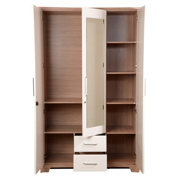 Buy Ambra Three Door Wardrobe with Mirror in White Finish line