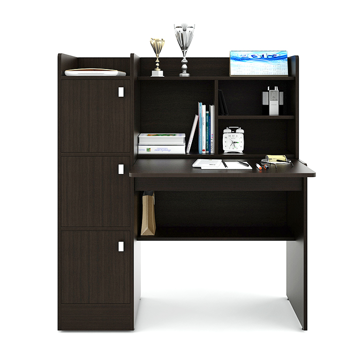 Ace Study Table in Wenge Finish,Book Shelves