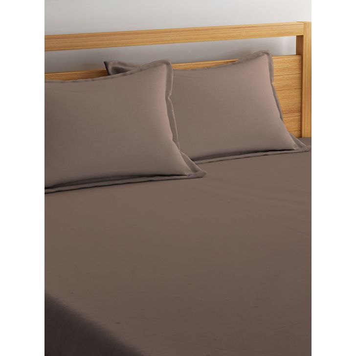 Portico Percale Bedsheet Oatmeal,Double Bed Sheets