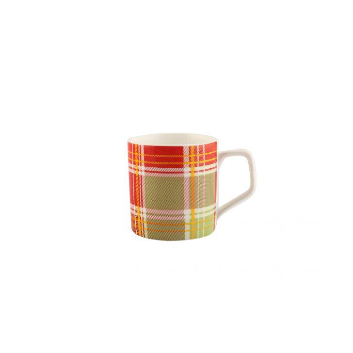 Chequered Tropicalgarden Set Fo 6 Tea Mugs,Cups & Saucers