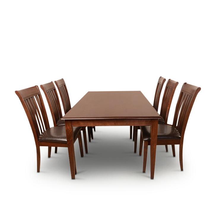 Linda Six Seater Dining Set in Walnut Finish,6 Seater Dining Sets