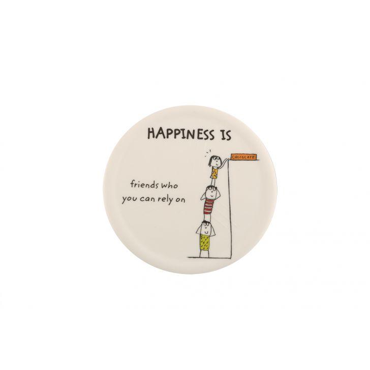 Happiness Round Coaster - Mod Assrt,Serving