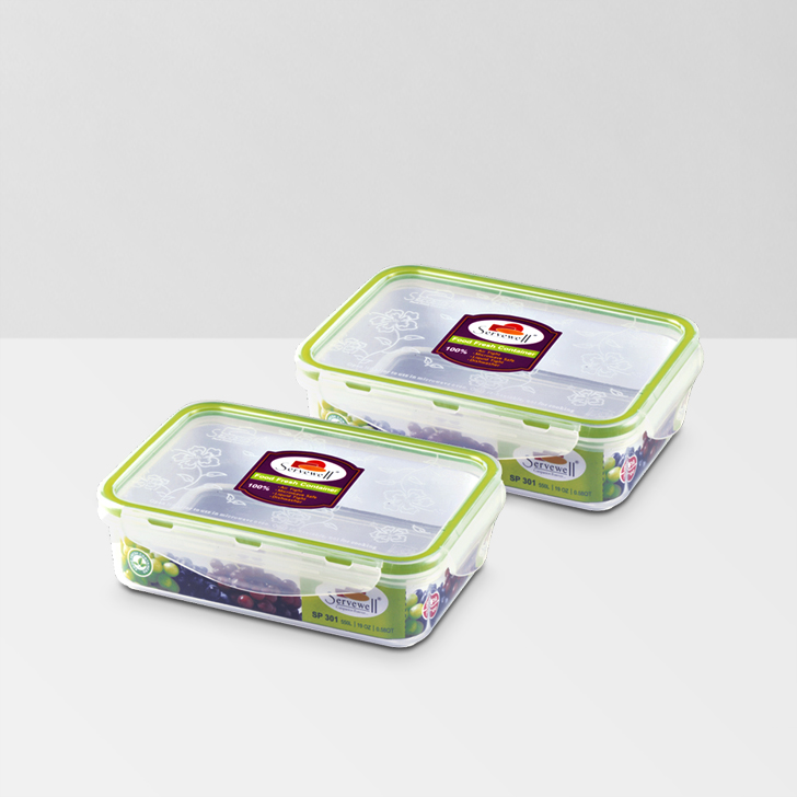 Servewell Rectangle Food Fresh Container 550 ml 2 Pcs,Lock Storage