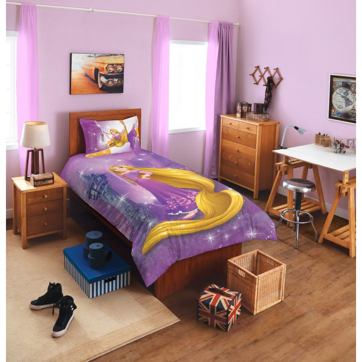 Spaces Disney Rapunzel Lavender Cotton Single Bed Sheet With 1 Pillow  Cover,Single Bed Sheets