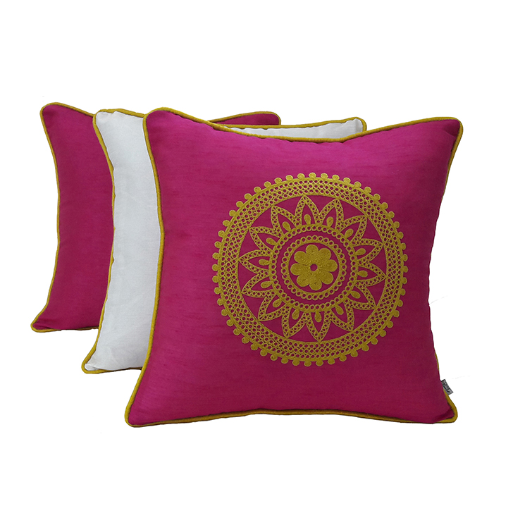 Living Essence Set Of Three Cushion Cover 16X16 Fiesta Pink,Covers & Inserts
