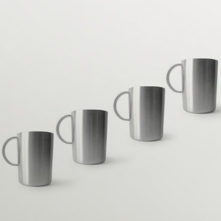 Hot Muggs Tall Shot Stainless Steel Mugs, Set of 4, 130 ml,Mugs & Cups