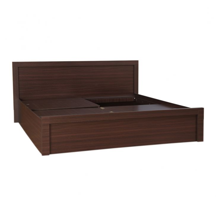 Dazzle King Bed With Box Storage in Walnut Finish (Without Base Plank),Flash Sale