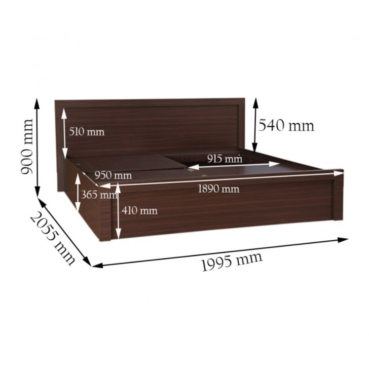 Dazzle King Bed With Box Storage in Walnut Finish (Without Base Plank),Furniture