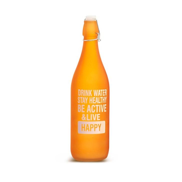 Living Essence Frosted Glass Water Bottle Orange,Bottles