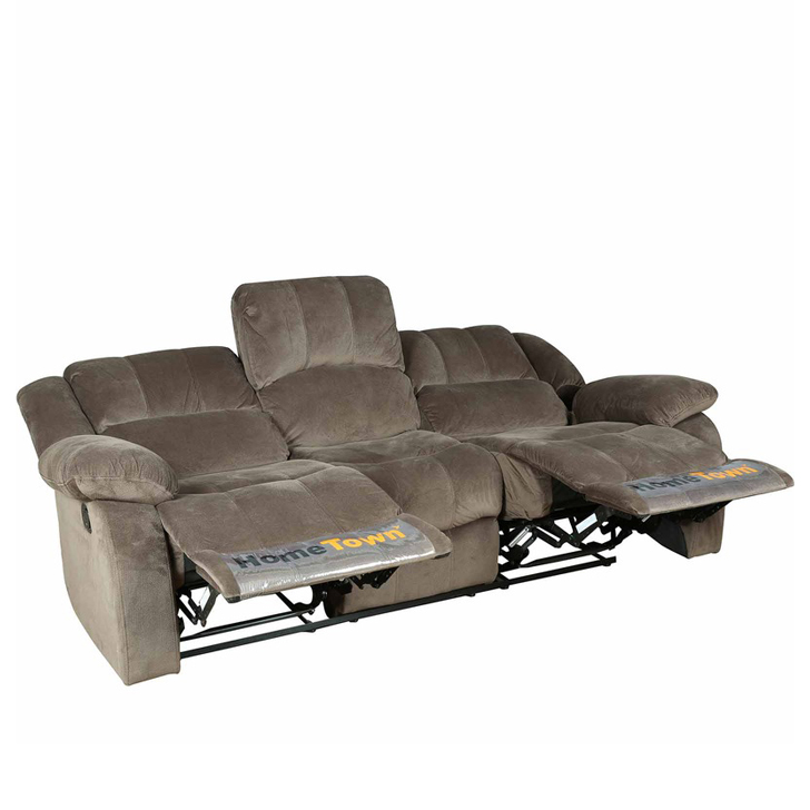 Rhea Three Seater Manual Recliner in Brown Colour,Recliners