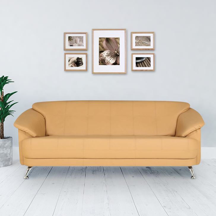 Corinth Letherette Three Seater Sofa Black,Furniture