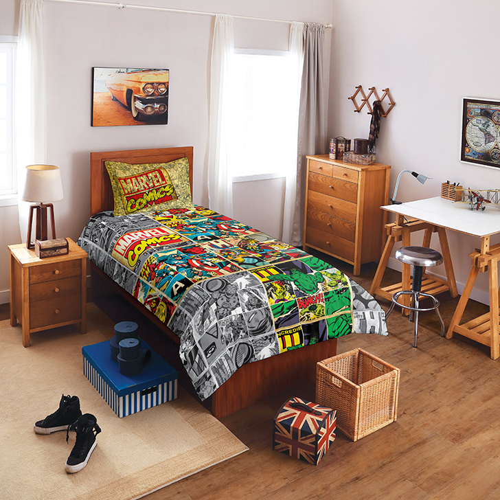 Spaces Marvel Comics Grey Cotton Single Bed Sheet Set,Single Bed Sheets