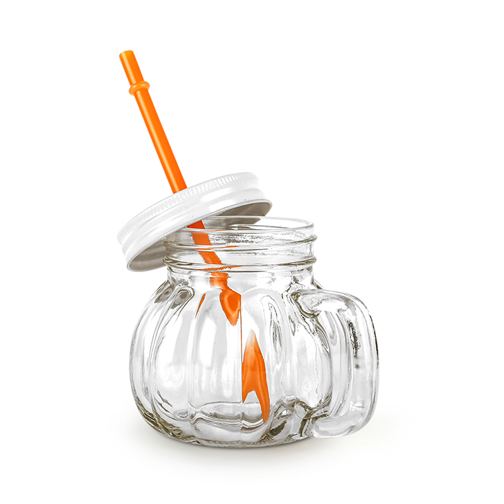 Living Essence Melon With Straw Orange Lid Drinking Jar 370 ml,Sippers