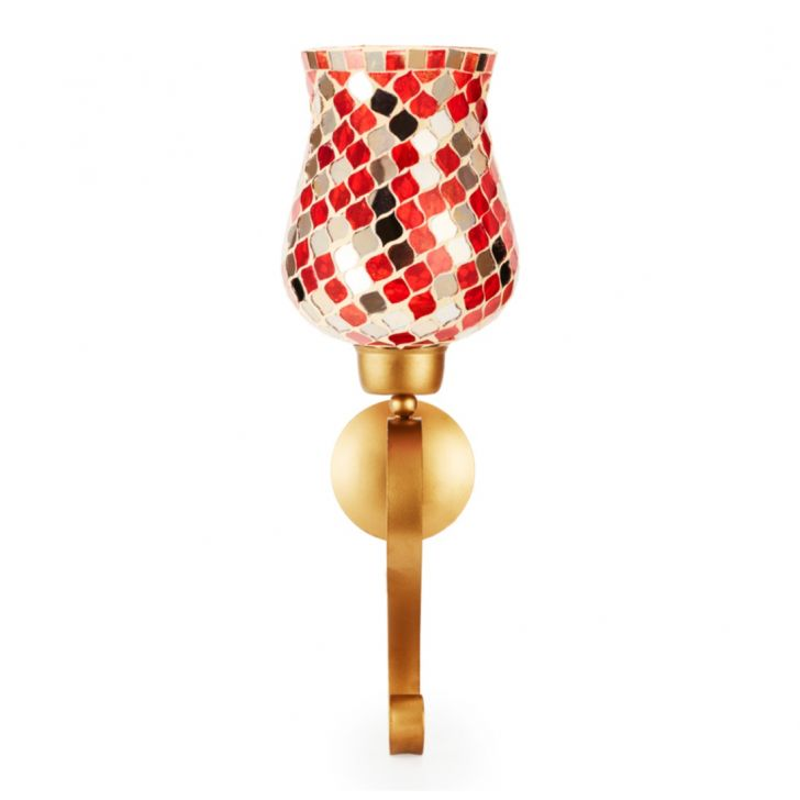 Ahana Mosaic Window Stand Candle Holder Red,Candle Holders