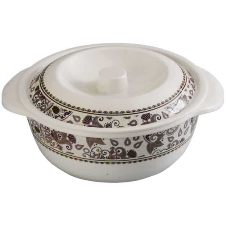 Servewell White Royal Paisley Serving Casserole With Lid 2 Pcs,Serving Casseroles