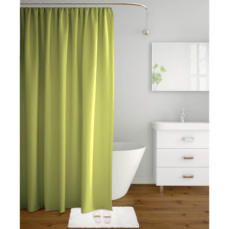 Tangerine Polyester Shower Curtain With Hooks Green,Bath Linen
