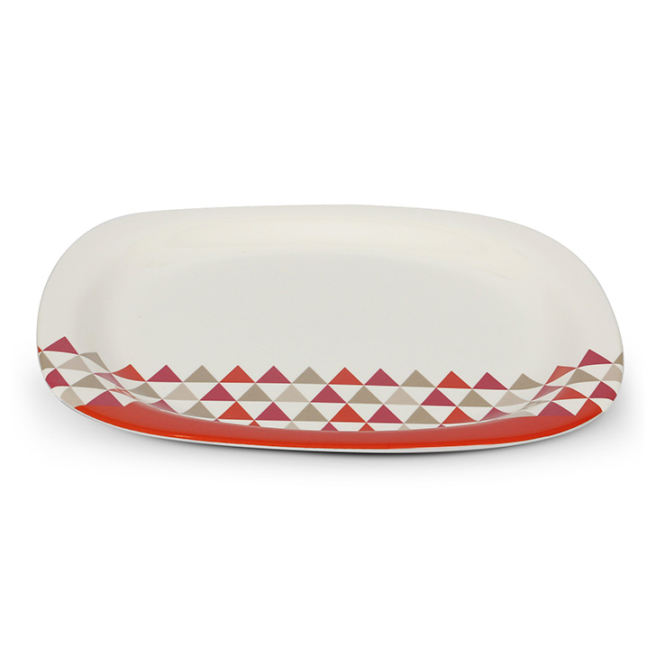 Living Essence Melamine Buffet Plate Red And White,Plates