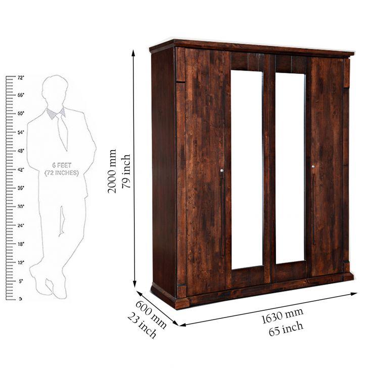 Mondo Four Door Wardrobe in Brown Finish,wardrobes