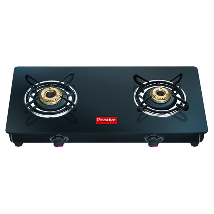 Prestige Elegant 2 Burner Glass Top Gas Stove Black,Cookware