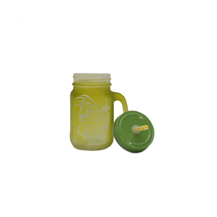 Quoted Mason Jars Set Of Two Lime & Yellow,Mason Jars
