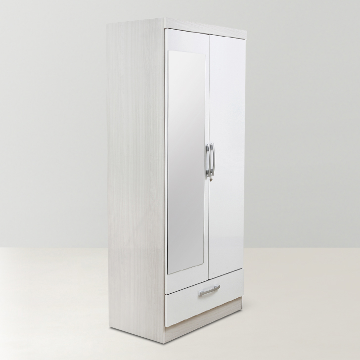 Apollo High Gloss Wardrobe With Mirror White,Furniture