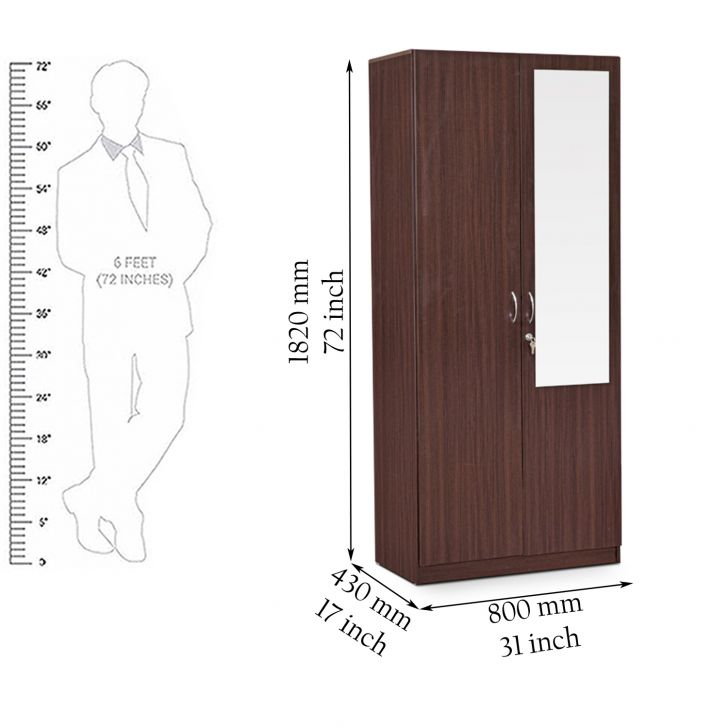 Allen Two Door Wardrobe With Mirror in Walnut Finish,The Big Summer Sale