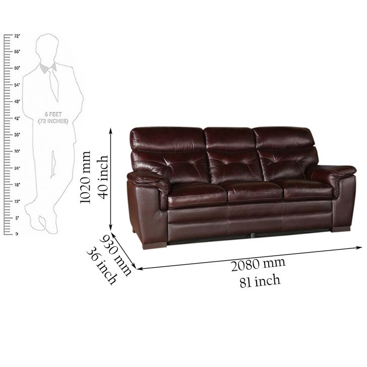 Bradley Half Leather Three Seater Sofa,Sofas & Sectionals