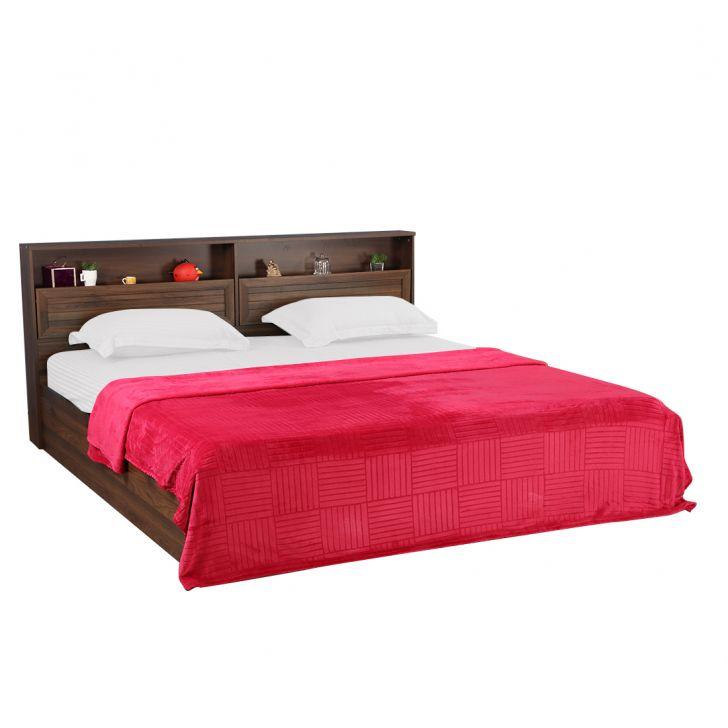 Fleece Blanket 240X220 Checks Berry,Quilts/Blankets