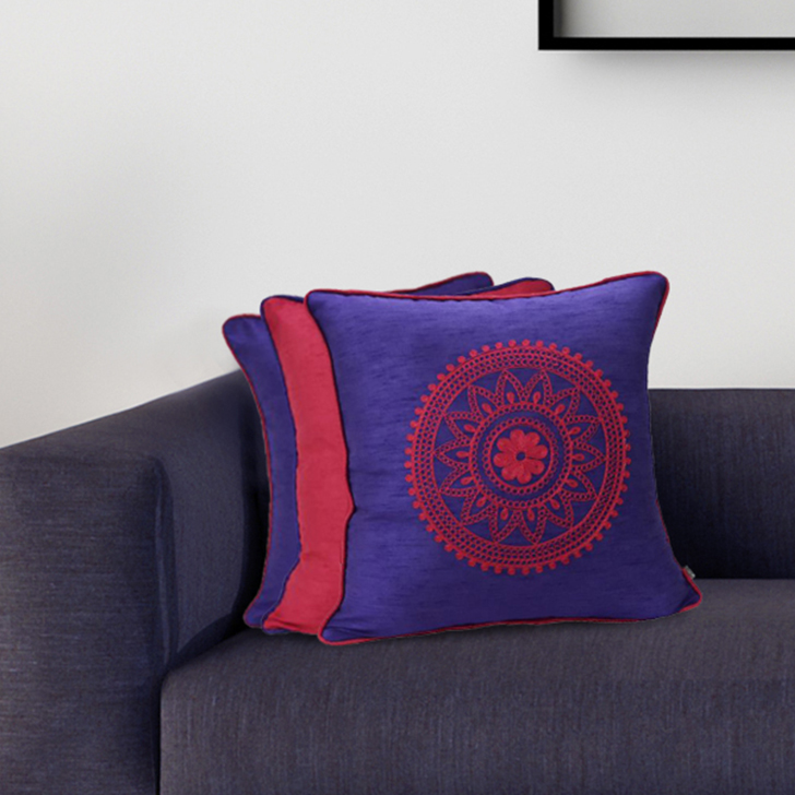 Living Essence Set Of Three Cushion Cover 16X16 Fiesta Purple,Covers & Inserts