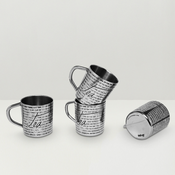 Hot Muggs For the Love of Tea Stainless Steel Double Walled Mug 200 ml, 4 Pc,Mugs & Cups
