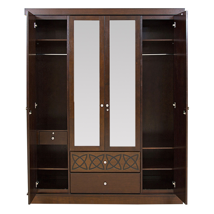 Astra Wardrobe With Mirror Wenge,4 Door Wardrobes