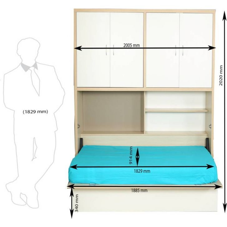 Rhodes Space Saver Single Bed in Doughlas Pine & Wenge Finish,Beds with Storage