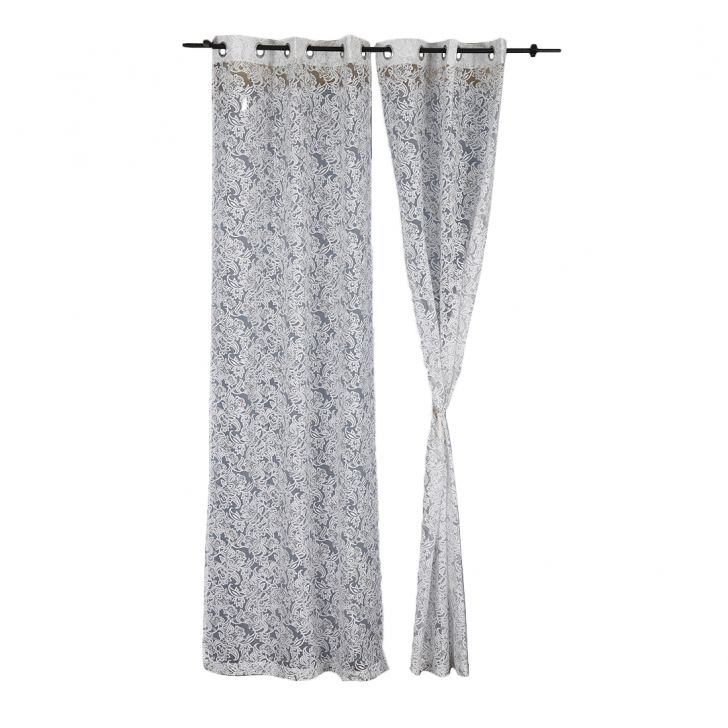 Amour Sheer Extra Large Curtain silver Set of 2,Long Door Curtains