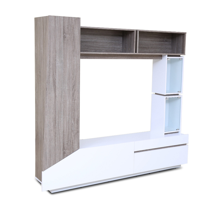 Jasmine Wall Entertainment Unit in Dark Oak & white Finish,Clearance Sale