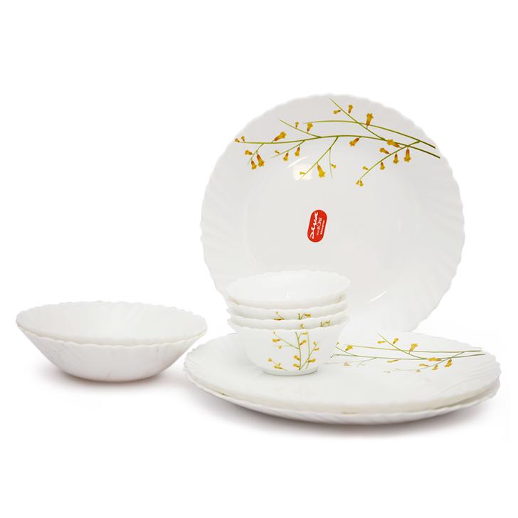 Diva Citron Weave Opalware Dinner Set White 10 Pcs,Dinner Sets