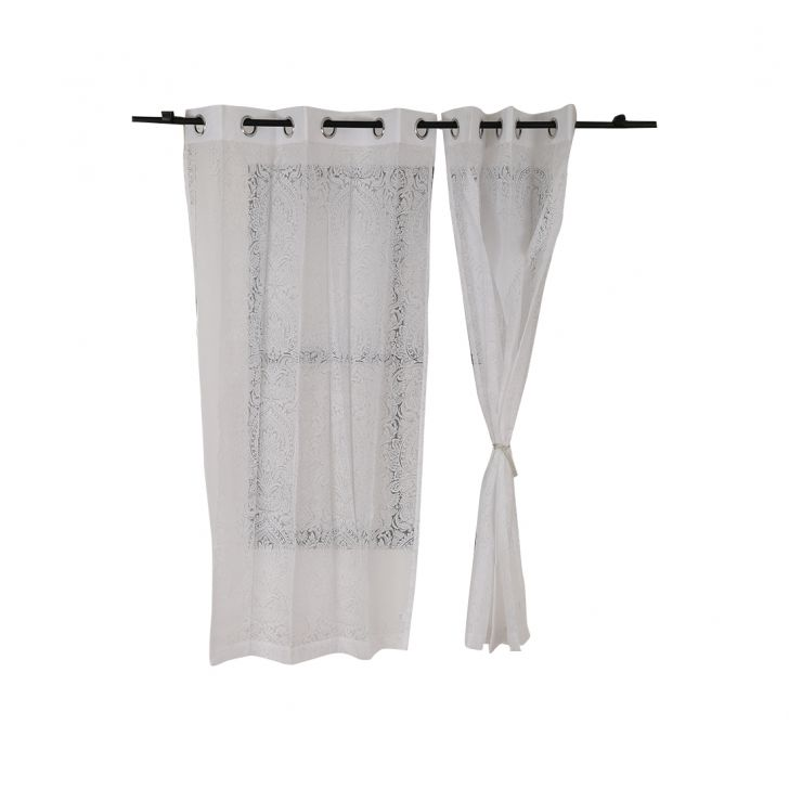 Amour sheer Window Curtain Off White Set of 2,Window Curtains