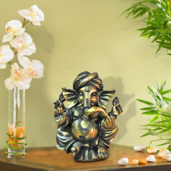 HomeTown Fio Polyresin Ganesha Statue Brushed Gold,Figurines