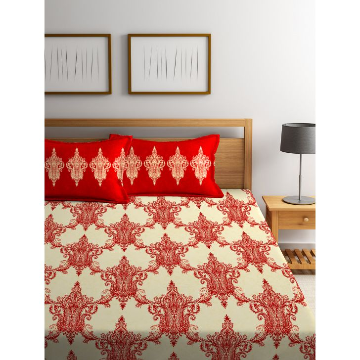 Double Bedsheet Tangy Orange Red,Double Bed Sheets