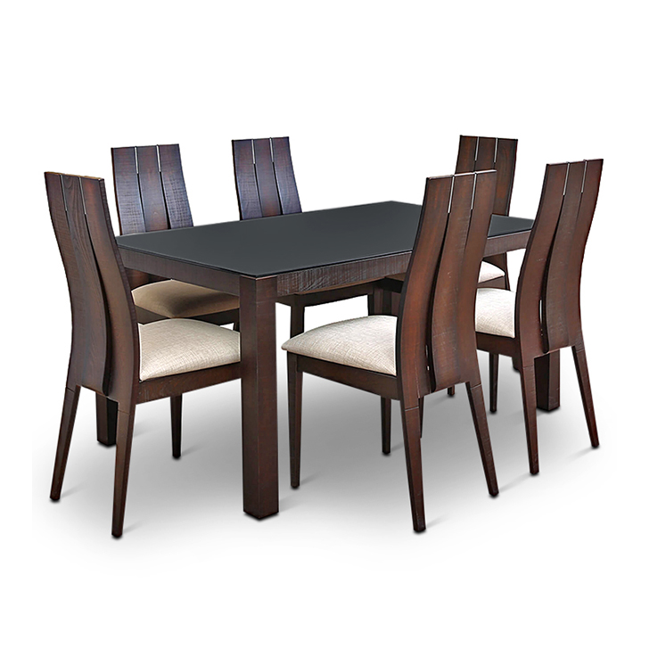 Buy carlton glass top six seater dining set burn beech for Dining room table 4 seater