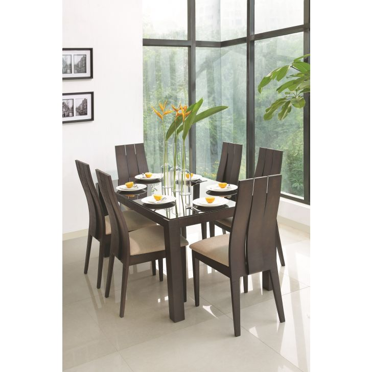 Carlton Black Glass Top Six Seater Dining Set in Wenge Finish,6 Seater Dining Sets