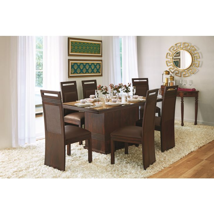Cleo Solidwood Marble Top 6 Seater Set,6 Seater Dining Sets