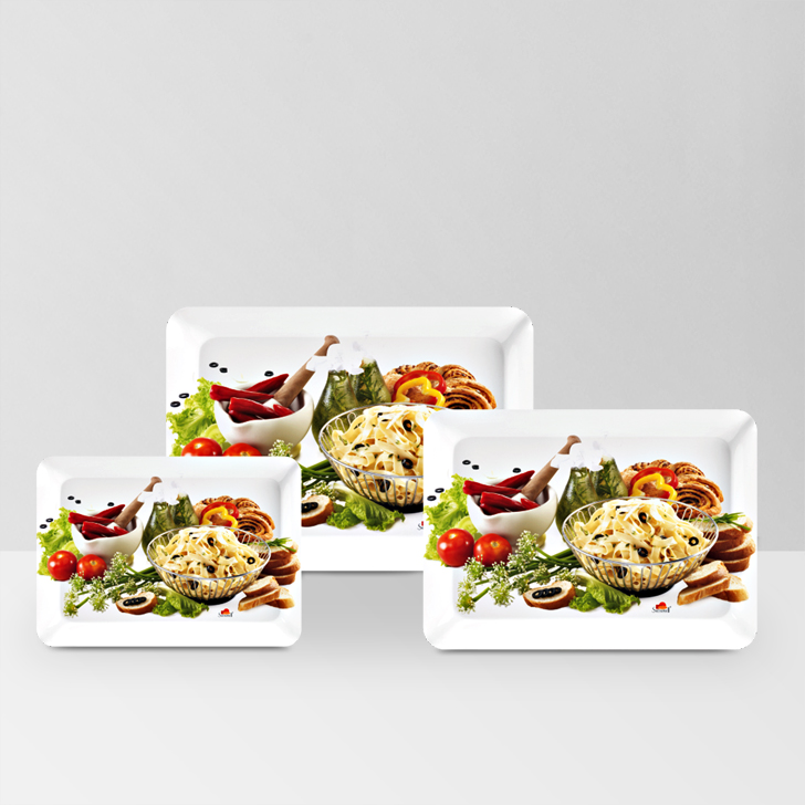 Servewell Chilly And Pasta Stylo Tray 3 Pcs,Trays